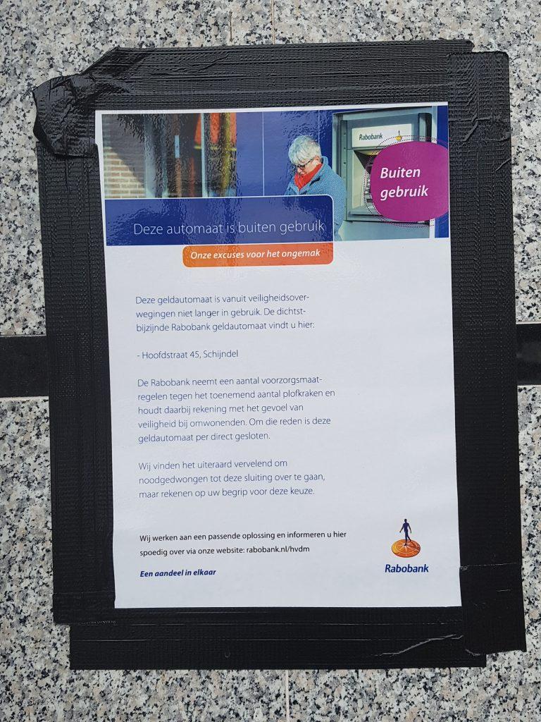 Bericht sluiting pinautomaat
