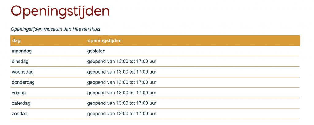 Openingstijden, Jan Heestershuis