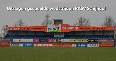 Uitslagen gespeelde wedstrijden RKSV Schijndel