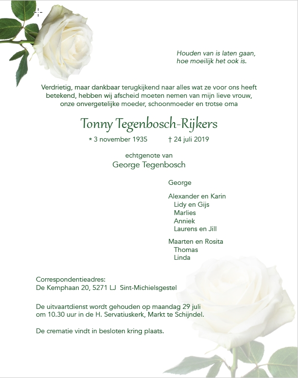 Rouwbrief Tonny Tegenbosch-Rijkers