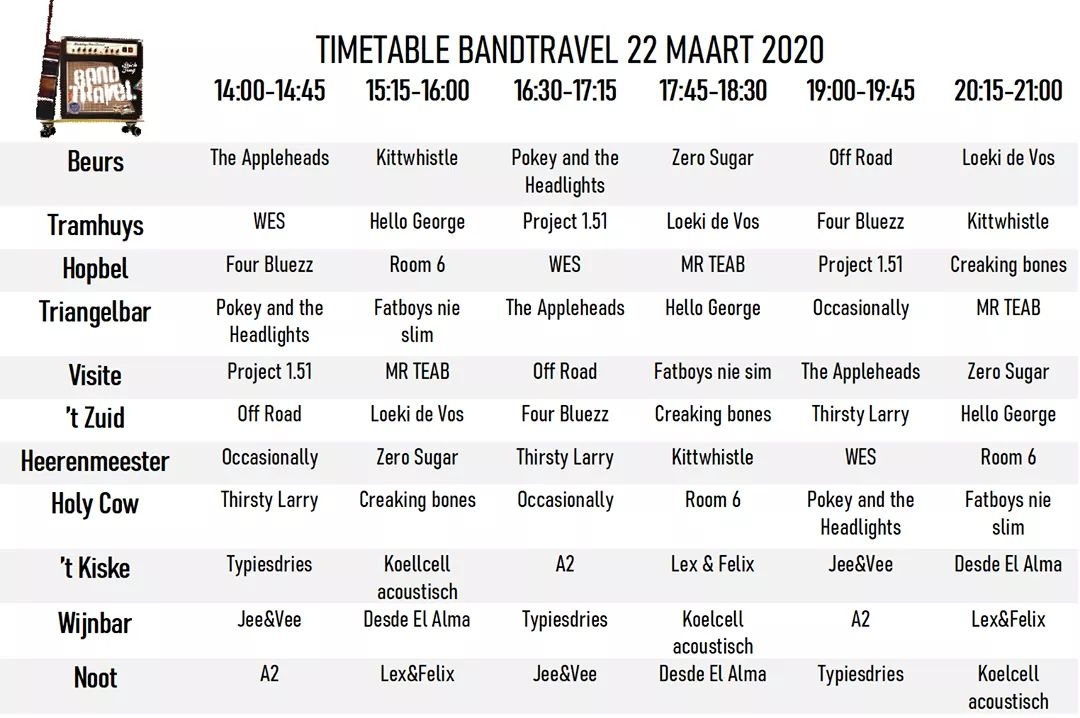 Bandtravel timetable